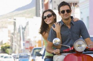 couple on moped