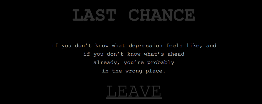 A Very Dark, Real Look at What Depression Feels Like