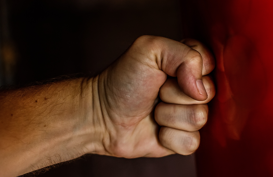Fist to punching bag