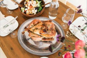 turkey and salad on table