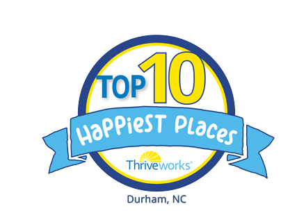 Top 10 Happiest Places in Durham, NC Award