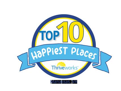 Top 10 Happiest Places in Manassas, VA Award