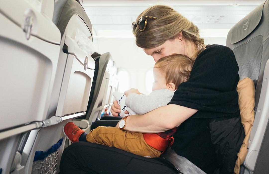 Parent and child on plane