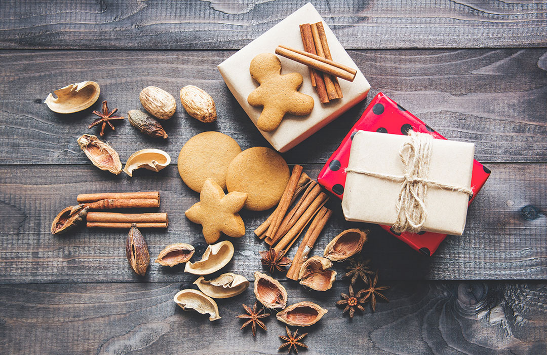 presents and cookies on wood