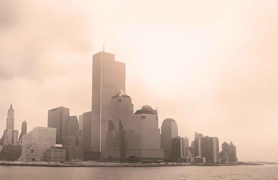 new york city skyline in foggy weather