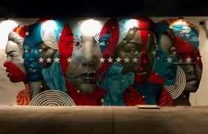 graffiti mural of woman's faces