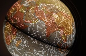 world map with horoscope information